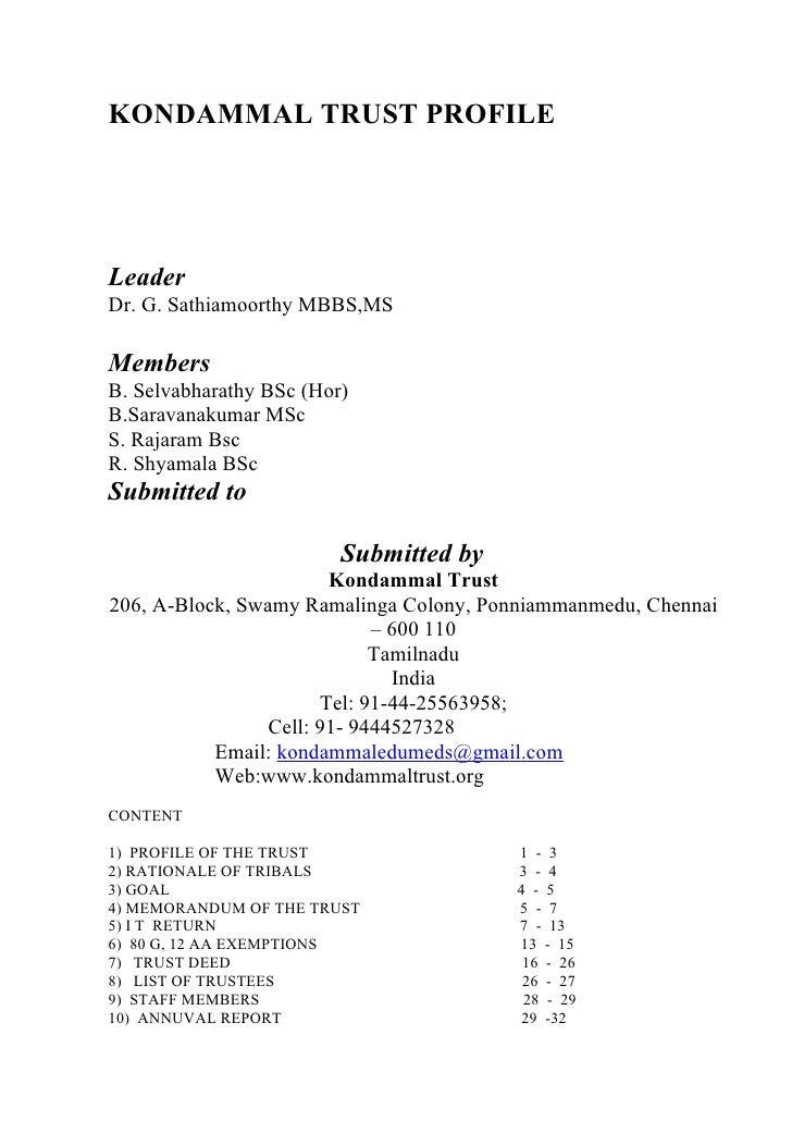 KONDAMMAL TRUST PROFILE     Leader Dr. G. Sathiamoorthy MBBS,MS  Members B. Selvabharathy BSc (Hor) B.Saravanakumar MSc S....