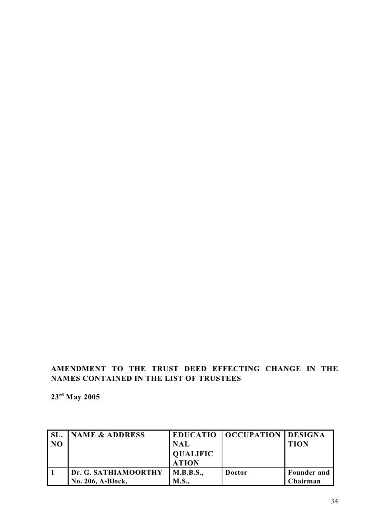 AMENDMENT TO THE TRUST DEED EFFECTING CHANGE IN THE NAMES CONTAINED IN THE LIST OF TRUSTEES  23rd May 2005    SL. NAME & A...