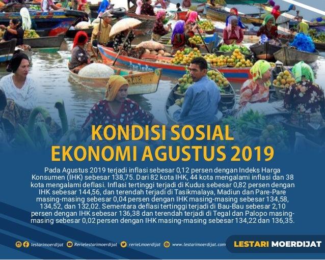 Pada Agustus 2019 terjadi inflasi sebesar 0,12 persen dengan Indeks Harga Konsumen (IHK) sebesar 138,75. Dari 82 kota IHK, ...