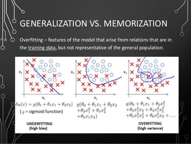 GENERALIZATION VS. MEMORIZATION Overfitting – features of the model that arise from relations that are in the training dat...