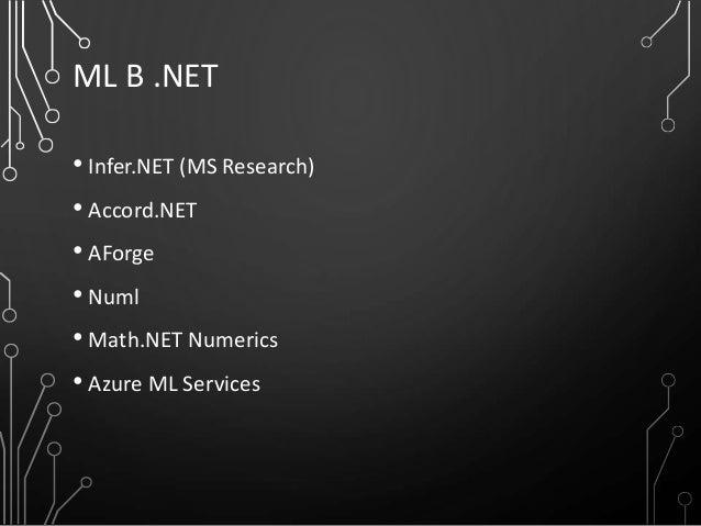 ML В .NET • Infer.NET (MS Research) • Accord.NET • AForge • Numl • Math.NET Numerics • Azure ML Services