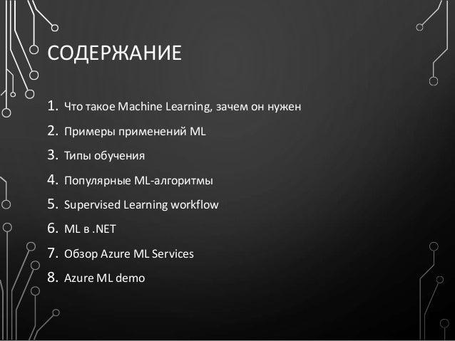 СОДЕРЖАНИЕ 1. Что такое Machine Learning, зачем он нужен 2. Примеры применений ML 3. Типы обучения 4. Популярные ML-алгори...