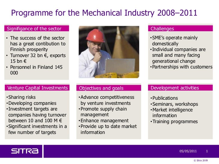 Programme for the Mechanical Industry 2008–2011<br />Venture Capital Investments<br />Development activities<br />Signifig...