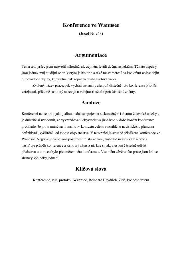 Konference ve Wannsee                                       (Josef Novák)                                     ArgumentaceT...