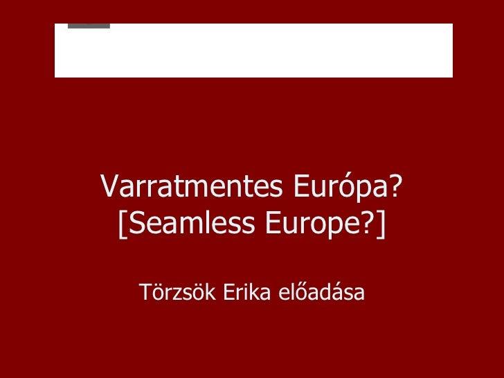 Varratmentes Európa? [Seamless Europe?] Törzsök Erika előadása