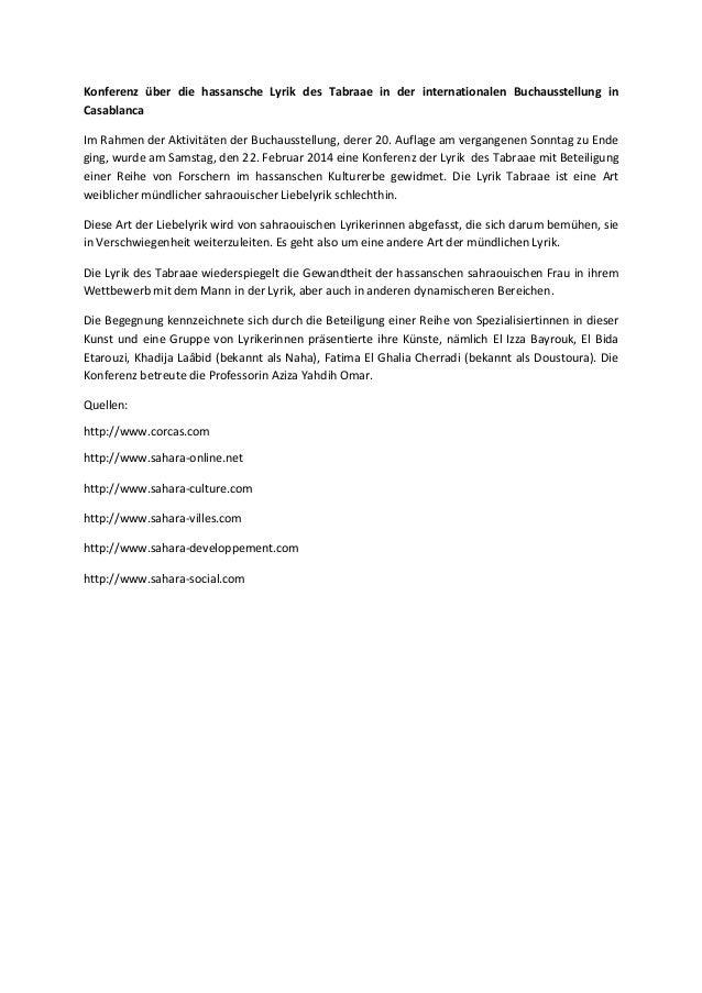 Konferenz über die hassansche Lyrik des Tabraae in der internationalen Buchausstellung in Casablanca Im Rahmen der Aktivit...