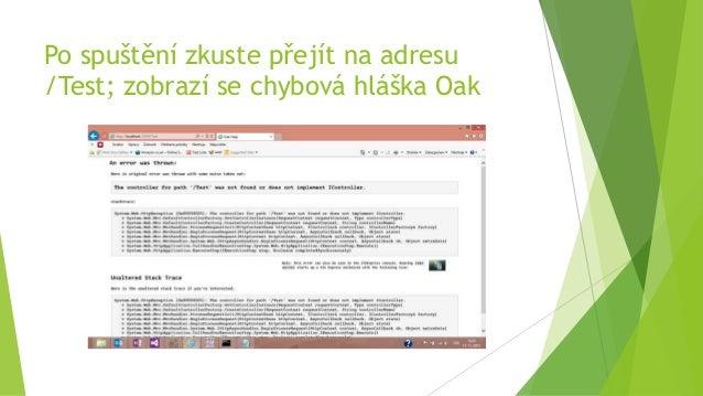 Po spuštění zkuste přejít na adresu /Test; zobrazí se chybová hláška Oak