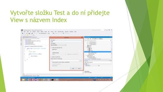 Vytvořte složku Test a do ní přidejte View s názvem Index