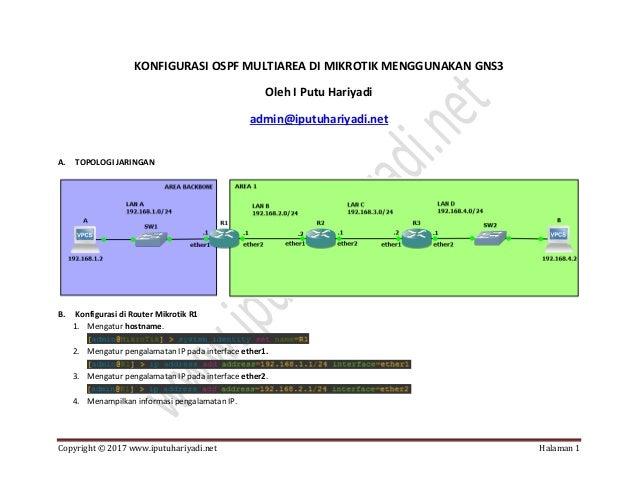 Copyright © 2017 www.iputuhariyadi.net Halaman 1 KONFIGURASI OSPF MULTIAREA DI MIKROTIK MENGGUNAKAN GNS3 Oleh I Putu Hariy...