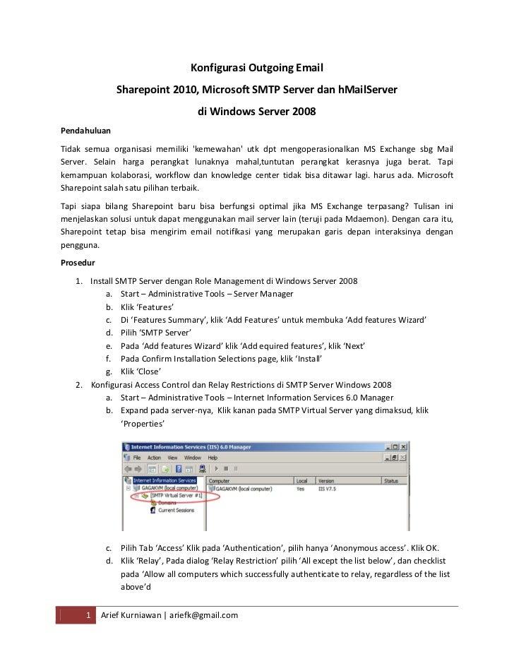 Konfigurasi outgoing email sharepoint - MDaemon