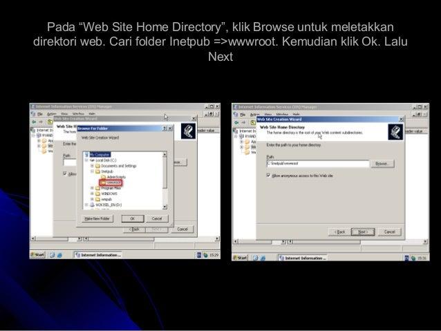 """Pada """"Web Site Home Directory"""", klik Browse untuk meletakkanPada """"Web Site Home Directory"""", klik Browse untuk meletakkan d..."""