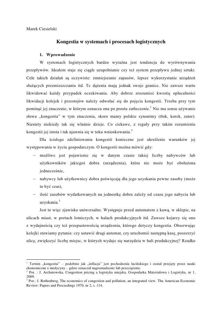 Kongestia w systemach i procesach logistycznych