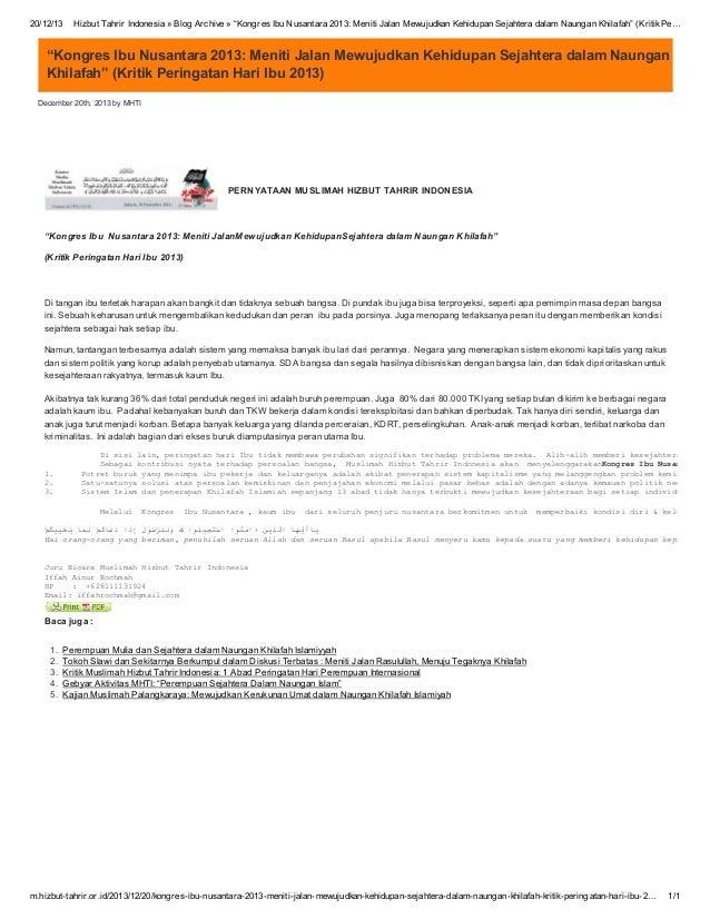 "20/12/13  Hizbut Tahrir Indonesia » Blog Archive » ""Kongres Ibu Nusantara 2013: Meniti Jalan Mewujudkan Kehidupan Sejahter..."