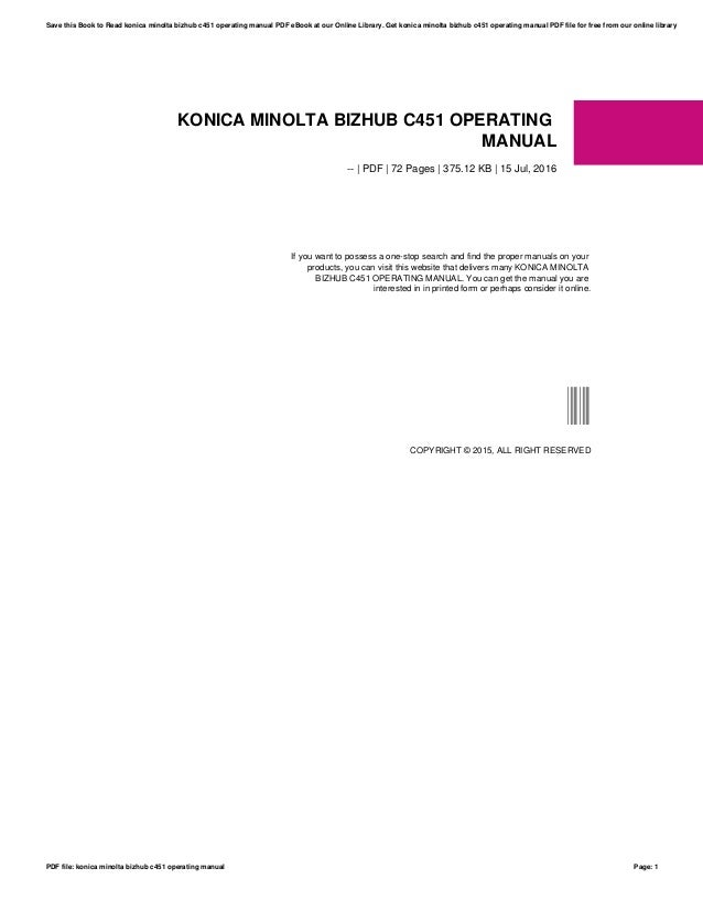 Konica minolta bizhub c451 operating manual