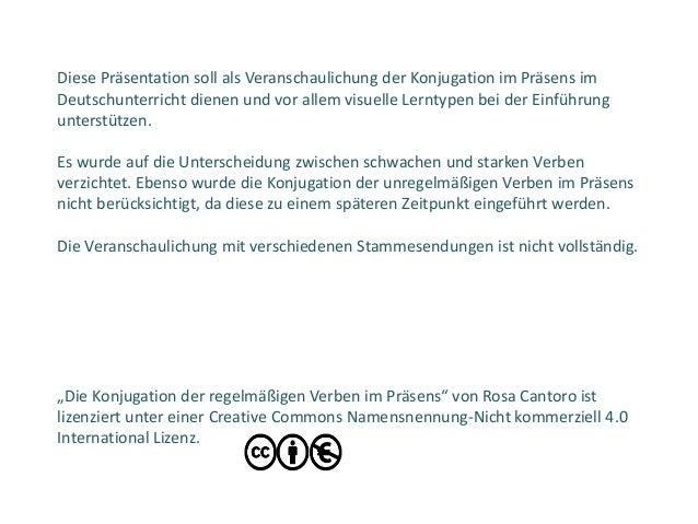 """""""Die Konjugation der regelmäßigen Verben im Präsens"""" von Rosa Cantoro ist lizenziert unter einer Creative Commons Namensne..."""