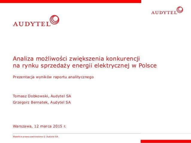 Analiza możliwości zwiększenia konkurencji na rynku sprzedaży energii elektrycznej w Polsce Prezentacja wyników raportu an...