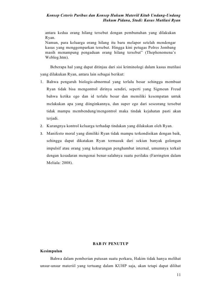 Konsep Ceteris Paribus dan Konsep Hukum Materiil Kitab Undang-Undang                                  Hukum Pidana, Studi:...
