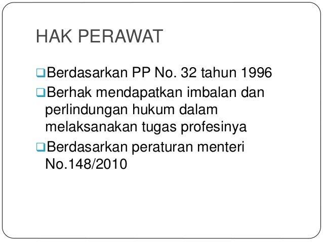 HAK PERAWAT Berdasarkan PP No. 32 tahun 1996 Berhak mendapatkan imbalan dan perlindungan hukum dalam melaksanakan tugas ...