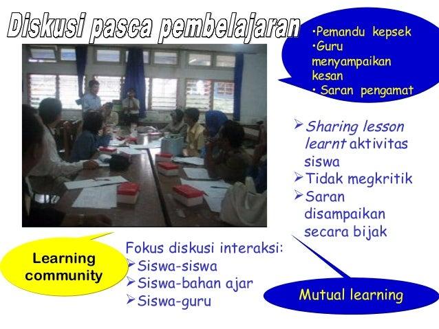 Diskusi pasca pembelajaran  Learning community  Fokus diskusi interaksi: Siswa-siswa Siswa-bahan ajar Siswa-guru  •Pema...