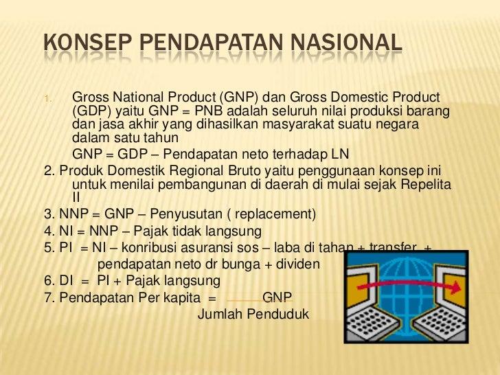 KONSEP PENDAPATAN NASIONAL1.   Gross National Product (GNP) dan Gross Domestic Product     (GDP) yaitu GNP = PNB adalah se...