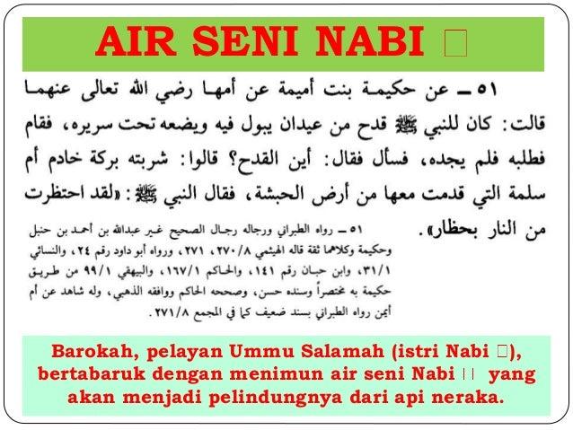 AIR SENI NABI  Barokah, pelayan Ummu Salamah (istri Nabi ),  bertabaruk dengan menimun air seni Nabi yang  akan menjadi pe...