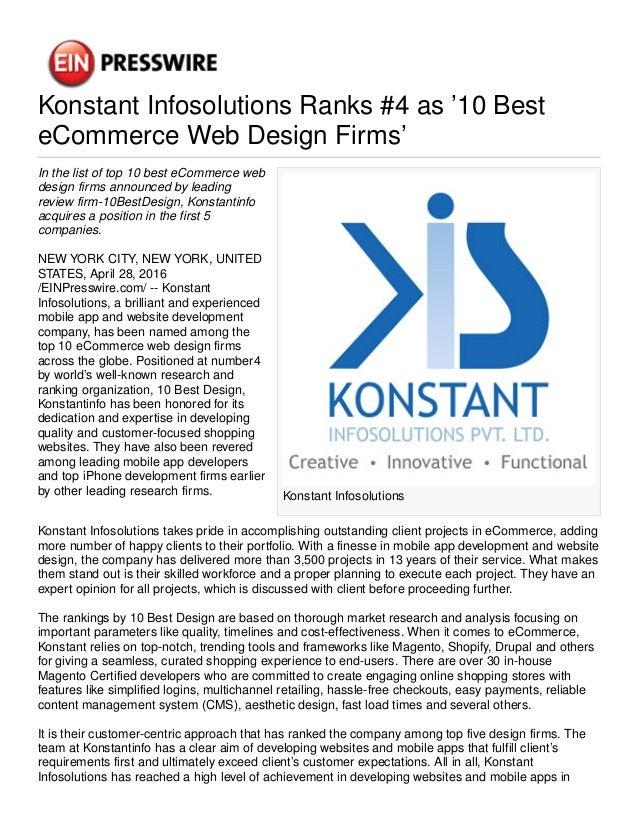 Konstant Infosolutions Ranks #4 as '10 Best eCommerce Web Design Firms' Konstant Infosolutions In the list of top 10 best ...