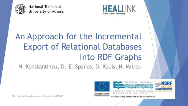 An Approach for the Incremental Export of Relational Databases into RDF Graphs N. Konstantinou, D.-E. Spanos, D. Kouis, N....