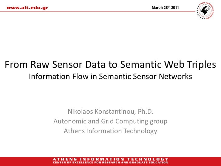 March 28th 2011From Raw Sensor Data to Semantic Web Triples     Information Flow in Semantic Sensor Networks              ...