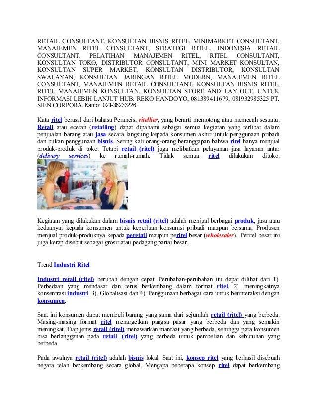 RETAIL CONSULTANT, KONSULTAN BISNIS RITEL, MINIMARKET CONSULTANT, MANAJEMEN RITEL CONSULTANT, STRATEGI RITEL, INDONESIA RE...