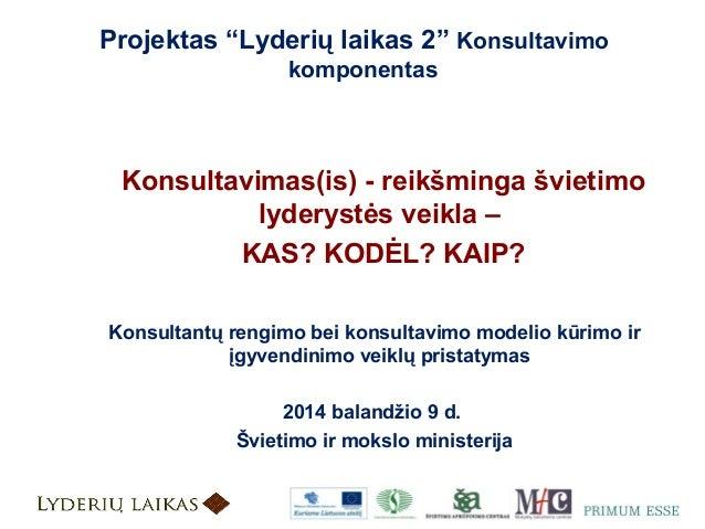 Konsultantų rengimo, konsultavimo modelio kūrimo ir įgyvendinimo veiklų pristatymas