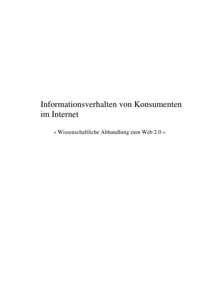 Informationsverhalten von Konsumenten im Internet