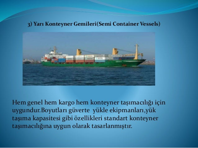 Konteyner gemileri kapasitelerine bağlı olarak nesillere bölünmüştür. 1. Nesil Konteyner Gemisi, 1000 TEU' ya kadar 2.Nesi...
