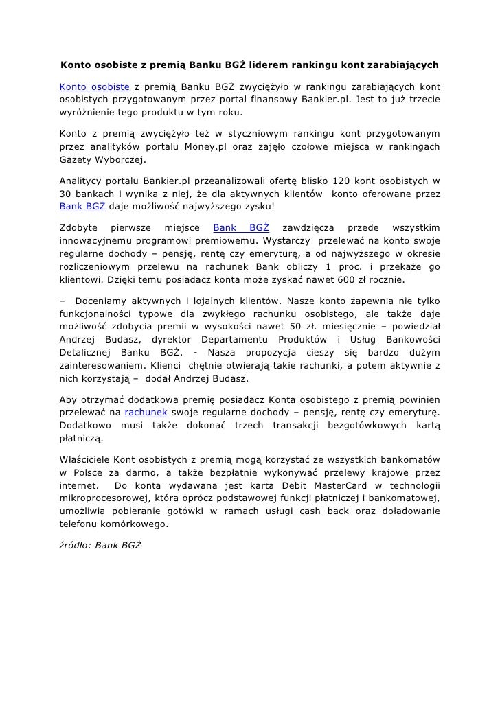 Konto osobiste z premią Banku BGŻ liderem rankingu kont zarabiającychKonto osobiste z premią Banku BGŻ zwyciężyło w rankin...
