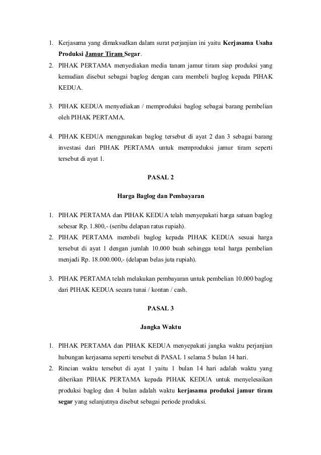 kontrak agribisnis budidaya jamur tiram