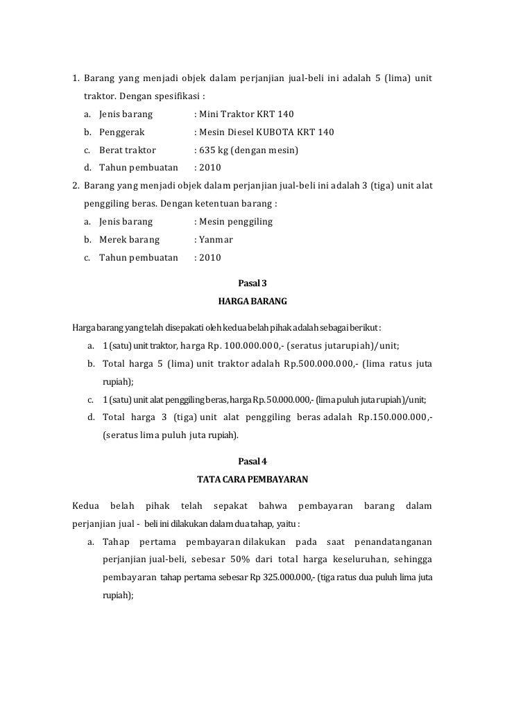 Contoh Surat Perjanjian Sewa Menyewa Mesin - Contoh Surat