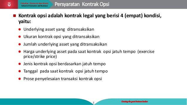 Tanggal penyelesaian transaksi opsi
