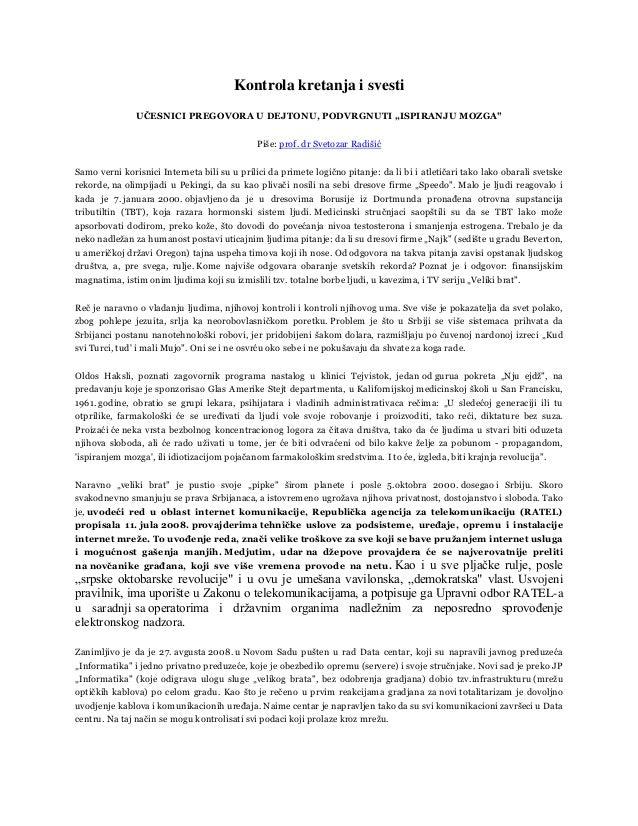 """Kontrola kretanja i svesti               UČESNICI PREGOVORA U DEJTONU, PODVRGNUTI """"ISPIRANJU MOZGA""""                       ..."""