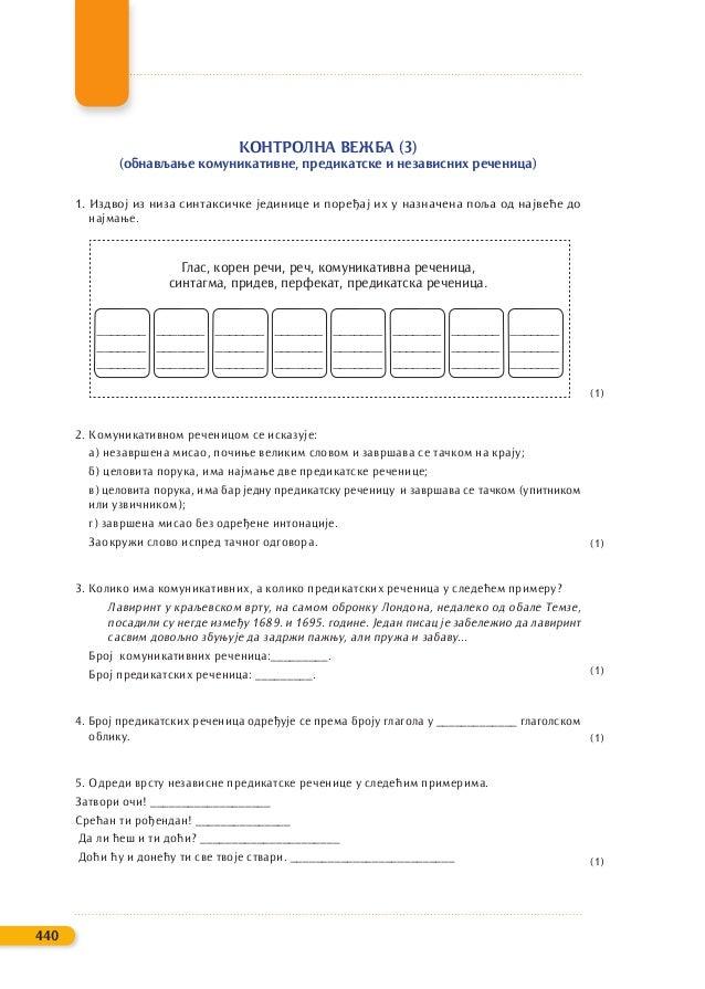 КОНТРОЛНА ВЕЖБА (3) (обнављање комуникативне, предикатске и независних реченица) 1. Издвој из низа синтаксичке јединице и ...