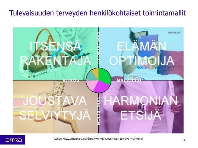 Tulevaisuuden terveyden henkilökohtaiset toimintamallit  Lähde: www.slideshare.net/SitraHyvinvointi/huomisen-terveys-hyvin...