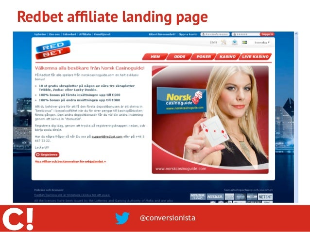 Redbet affiliate landing page                  @conversionista