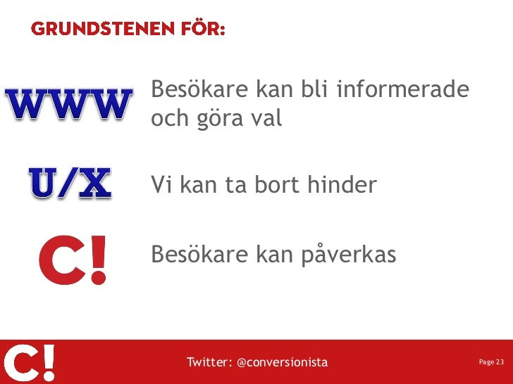 Besökare kan bli informeradeoch göra valVi kan ta bort hinderBesökare kan påverkas   Twitter: @conversionista    Page 23