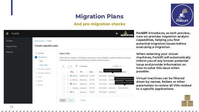 14 Migration Plans And pre-migration checks Forklift introduces, as tech preview, new on-premise migration analytic capabi...