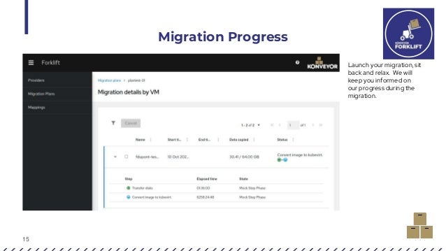 15 Migration Progress Launch your migration, sit back and relax. We will keep you informed on our progress during the migr...