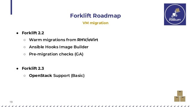 19 Forklift Roadmap VM migration ● Forklift 2.2 ○ Warm migrations from RHV/oVirt ○ Ansible Hooks Image Builder ○ Pre-migra...