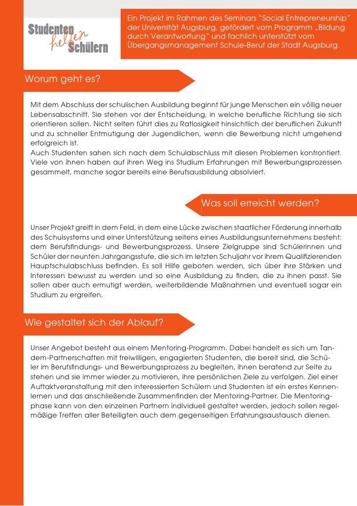 "Ein Projekt im Rahmen des Seminars ""Social Entrepreneurship""Studenten en                  der Universität Augsburg, geförd..."