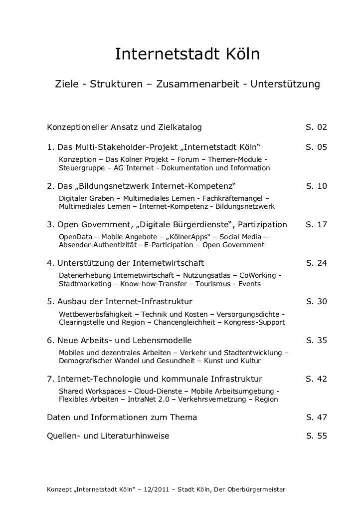 Internetstadt Köln  Ziele - Strukturen – Zusammenarbeit - UnterstützungKonzeptioneller Ansatz und Zielkatalog             ...