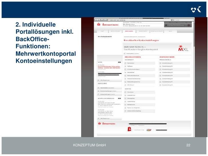 2. Individuelle Portallösungen inkl. BackOffice-Funktionen Mehrwertkonto-Portal - Sitmap<br />KONZEPTUM GmbH<br />19<br />