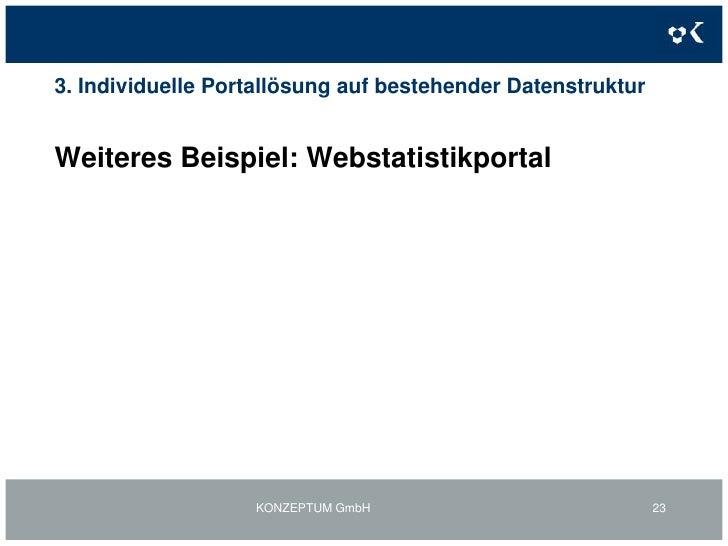 2. Individuelle Portallösungen inkl. BackOffice-Funktionen:Mehrwertkontoportal Startseite<br />KONZEPTUM GmbH<br />20<br />