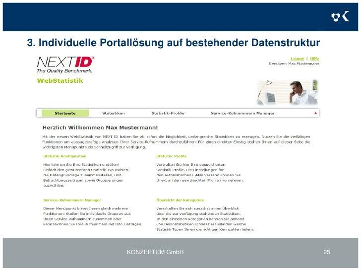 2. Individuelle Portallösungen inkl. BackOffice-Funktionen:Mehrwertkontoportal Kontoeinstellungen<br />KONZEPTUM GmbH<br /...