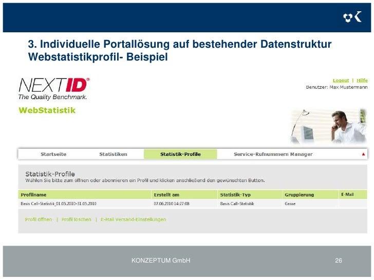 3. Individuelle Portallösung auf bestehender Datenstruktur<br />Weiteres Beispiel: Webstatistikportal<br />KONZEPTUM GmbH<...